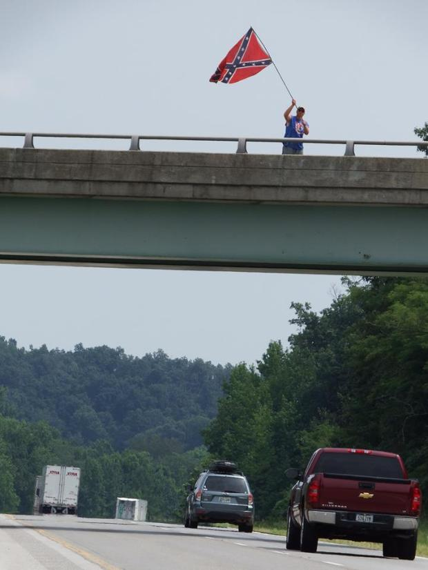 Photo Tony took of the guy waving the Confederate battle flag.
